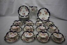 C. 1890 39pc English Porcelain COBALT Gold FLORAL Partial Dessert Service for 12