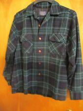 Mens Vintage Pendleton 100% Wool Board Shirt Exc Cond Blue Green Plaid Large L