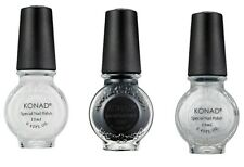 Konad Stamping Nail Art  Special Polish White, Black, Silver 11ml  GREAT DEAL