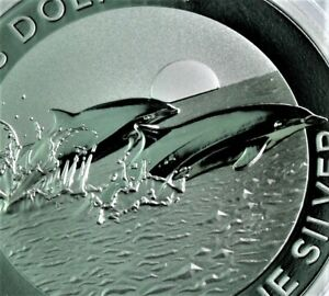 NEW! 2021 Fraser's Dolphin .999 1 oz Silver PROOF coin Perth Mint BU in cap
