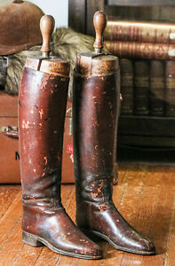 Antique Victorian Turtill & Lloyd Leather Riding Boots Maple Trees Equestrian