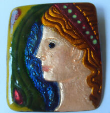 Large Modernist Enamel on Copper Cameo Pin
