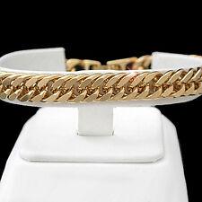 "MENS 8"" Diamond Cut DOUBLE CURB Link 24kt Gold Layered Bracelet + LIFE GUARANTEE"
