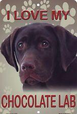 "Chocolate Labrador Retriever Metal Sign Wall Plaque 8"" x 12"" Dogs Brown Lab"