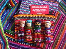 GUATEMALAN WORRY DOLLS - HANDWOVEN ZIP BAG WITH 4 DOLLS
