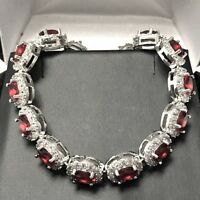 Gorgeous Oval Red Ruby Tennis Bracelet Wedding Anniversary Women Jewelry Gift