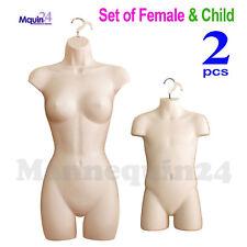 Female & Child Torso Mannequin Set + 2 Hooks Flesh Women Kids Dress Body Forms