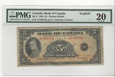 *1935*Bank of Canada BC-5 $5 Osb/Tow SN A1168728 , PMG VF-20 English