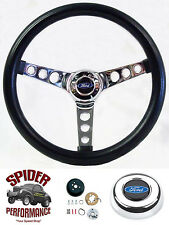 """1978-1991 Ford Bronco steering wheel BLUE OVAL 13 1/2"""" CLASSIC CHROME"""