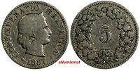 Switzerland Silver 1887 B 5 Rappen Mintage-500,000 RARE DATE KM# 26