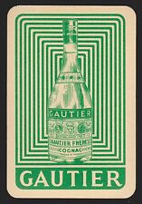 1 Single VINTAGE Swap/Playing Card ALCOHOL ADV GAUTIER FRENCH COGNAC BOTTLE