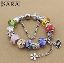 Sara Charm Bracelet Silver Plated European Glass Beads + Charms - Multicoloured