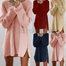 Women Long Sleeve Zip Up Knit Sweater Jumper Pullover Tops T-Shirt Mini Dresses