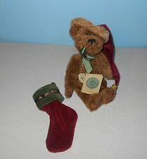 """10"""" Boyds Bears Santa Bell Jointed Bean Plush Teddy + Believe Velvet Stocking"""