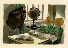 Gemelli a scuola-Pierre Leroy-original farbholzschnitt 1953