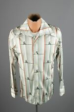 Vtg Men's 70s Damon Brand Polyester Sail Boat Print Shirt sz M 1970s #2463 Disco
