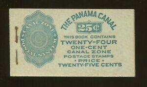 1924 United States Canal Zone Stamp #71e Mint F/VF Full Booklet, 4 Panes of 6