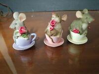 Vintage mice in teacups