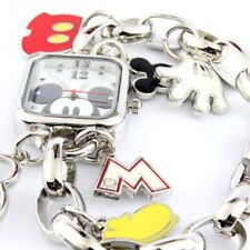 DISNEY MICKEY MOUSE SILVERCHARM BRACELET SQUARE WATCH MICKEY DDIAL NEW /PAPERS