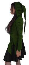 GREEN RED POINTY HOOD HOODED ZIP JACKET TOP S M 10 12 14 psy fae elvin hippy elf