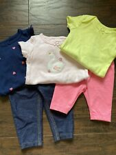 Baby Girl Clothing Bundle 3 Bodysuits 2 Bottoms Size 6 Months