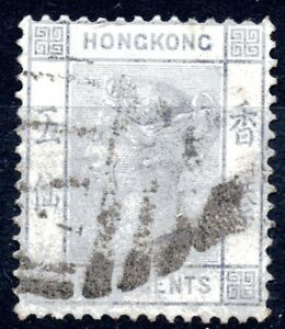 Hong Kong 1880 5c Blue Queen Victoria Wmk Crown CC cancelled A1 for Amoy
