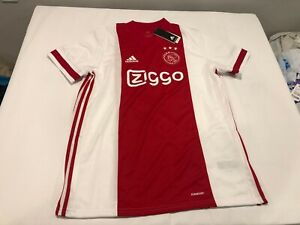 NWT $90.00 Adidas Mens Ajax Amsterdam Soccer Home Jersey Red / White Size SMALL