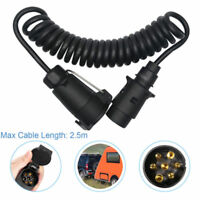 Trailer Light Electrics 2.5m Curly Extension Cable Male to Male 7-7 Pin Plug