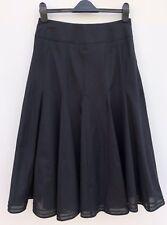"""DEBENHAMS Black Cotton Full Godet Midi Skirt Size 10 Length 30.5"""" WORN ONCE"""