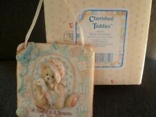 Cherished Teddies wall plaque Quilts of Friendship bear with goose 1993 with box