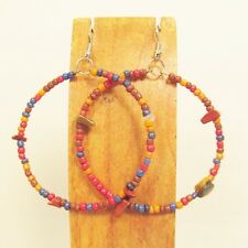 "2"" Stone Chip Bright Multi Color Bohemian Handmade Seed Bead Hoop Earring"