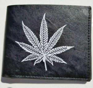 Wallet Bifold Pot Leaf Weed Cannabis Marijuana White Print New