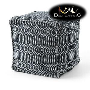 "Modern beautiful POUFFE ""SQUARE"" for sitting 50x50x50 cm black / light grey BOHO"