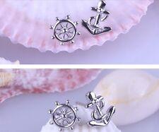 Ohrringe Ohrstecker Ausgefallene Kristall Sterling Silber 925 Anker Maritim Meer