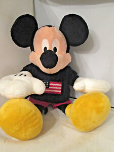 "DISNEY'S 15"" Rare Mickey Mouse Plush W/ Flag Sweater Beautiful Stuffed Animal"