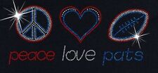 New England Patriots Football Love and Peace Rhinestone Iron on Transfer GH4R