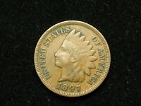VERY FINE 1897 INDIAN HEAD CENT PENNY w/ PARTIAL LIBERTY & SOME DIAMONDS #12v