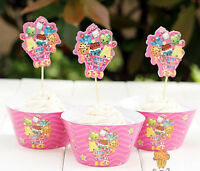 Shopkins Girl Birthday Party Cupcake Cake Muffin case Paper Toppers Wrapper Flag