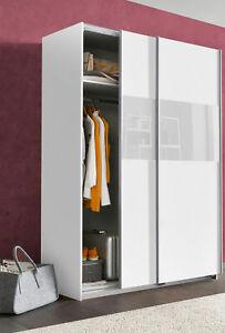 Wimex Schwebetürenschrank Kleiderschrank 135cm Bramfeld weiß Weißglas 24006500