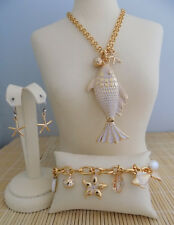 "Brighton ""Marine Gold"" Necklace Bracelet & Earrings - 3 piece set- NWT"