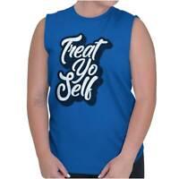 Treat Yo Self Funny Parks Rec Novelty TV Show Womens Sleeveless Crewneck T Shirt