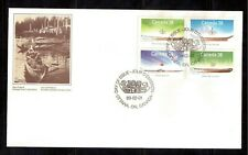 CANADA 1989 FIRST DAY COVER, # 1229/32 BLOCK OF 4, SMALL CRAFT NATIVE BOATS !!