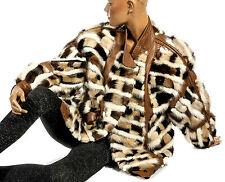 L XL Pelz Lederjacke Pelzjacke Nerzjacke gemustert bunt mink leather jacket fur