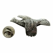 Ruffed Grouse Flying Pin ~ Antiqued Pewter ~ Lapel Pin