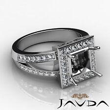 Diamond Engagement Ring Princess Semi Mount 18k White Gold Halo Setting 0.6Ct