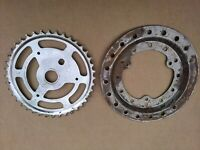 Old School BMX Raleigh Burner Chainring & Chain Guard Stripped Ready to Paint