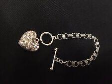 Silver Heart pendant bracelet, marcasite and rhinestone