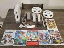 Nintendo Wii Console Mario Bundle, 2 Wheels, 2 Controllers, 6 Games! Mariokart