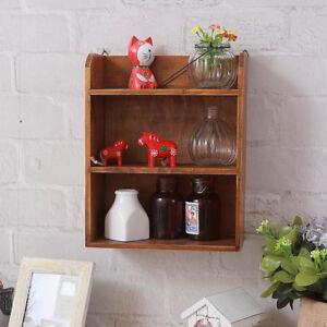 3-Tier Tabletop Wooden Storage Organizer Shelf Wall Hanging Storage Shelf