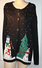 One Resource Woman 2x Christmas Trees and Snowmen Snowflakes Black Ugly Sweater